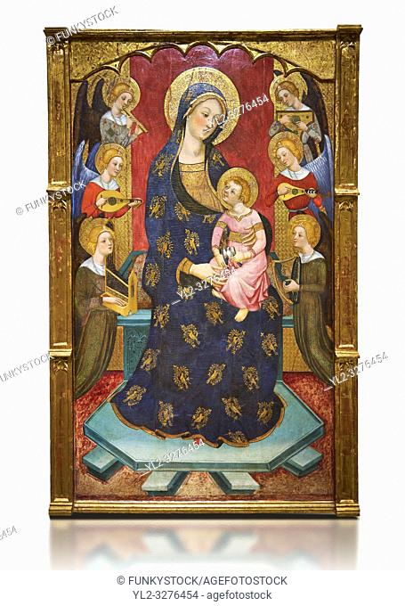 Gothic painted Panel Virgin of the Angels by Pere Serra. Tempera and gold leaf on wood. Circa 1385. 195. 8 x 131 x 11 cm