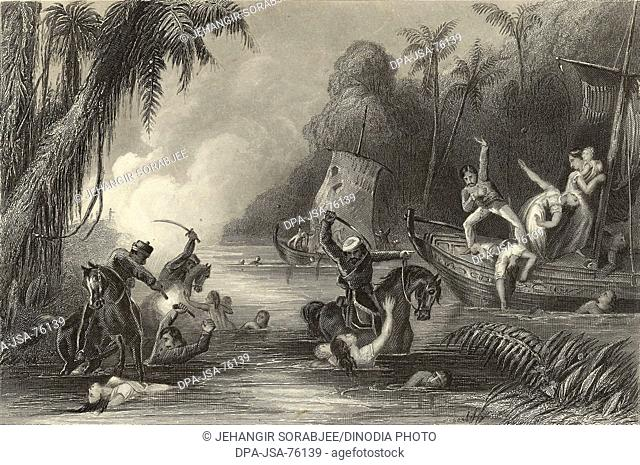 Miniature Painting , Massacre in the boats off Cawnpore Rebels killing Brish officers and their families Mutiny scenes 1857 North India
