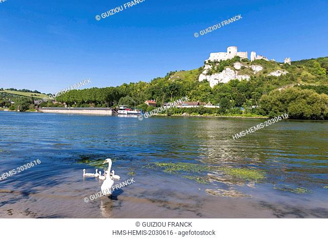 France, Eure, Les Andelys, the ruins of Chateau Gaillard, medieval fortress overlooking the Seine river