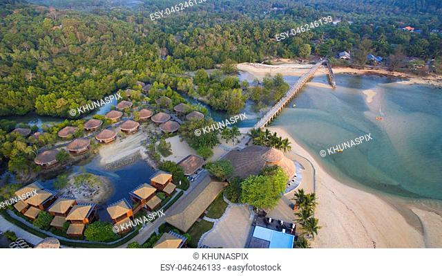 aerial view of payam island sea beach in ranong province andaman sea southern of thailand important traveling destination