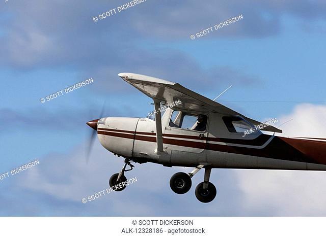 Cessna 150 In Flight At Merrill Field, Anchorage, Southcentral Alaska, USA