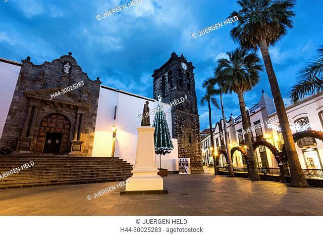 Plaza de Espana, the National University at the back, Santa Cruz de La Palma, Canary Islands, Spain