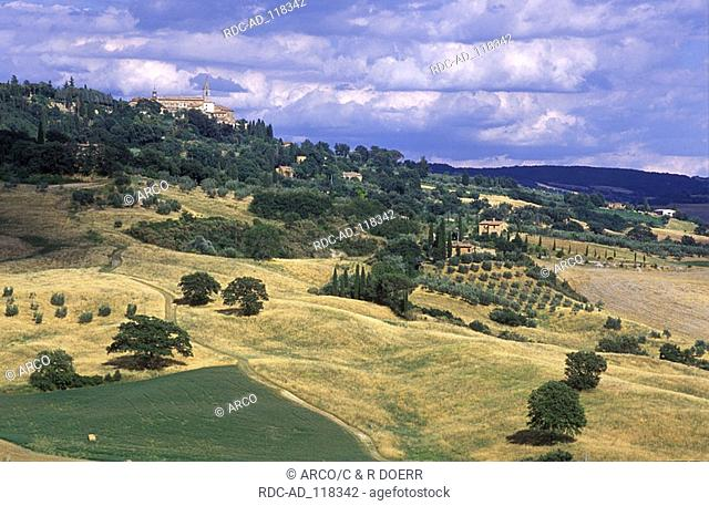 Cottages and fields Pienza Val d'Orcia Tuscany Italy cottage