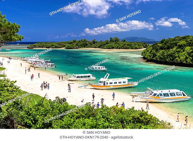 Beautiful coral sea of Kabira bay, a most photographed sightseeing spot, on Ishigaki island, part of the Iriomoto-Ishigaki National Park, Okinawa, Japan