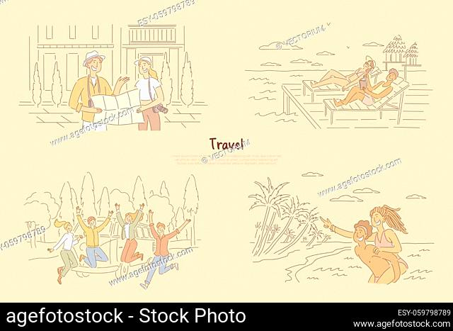 Man and woman finding way on map, laying on beach in beach chair, group of friends in front of van, summertime vacation banner