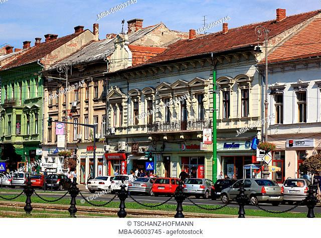 Romania, Banat, city of Arad, city centre, houses along the Boulevard de la Révolution / Revolution Boulevard