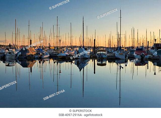 Sailboats on a marina, Oak Bay Marina, Vancouver Island, British Columbia, Canada