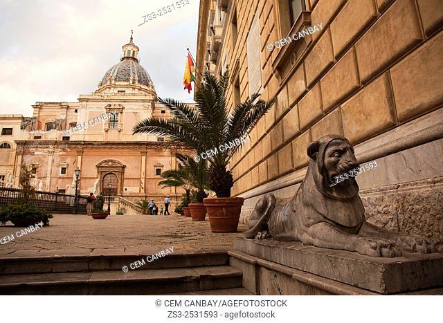 Fountain Pretoria-Pretoria Fountain at Piazza Pretoria with Chiesa Di S. Caterina Church at the background, Palermo, Sicly, Italy, Europe