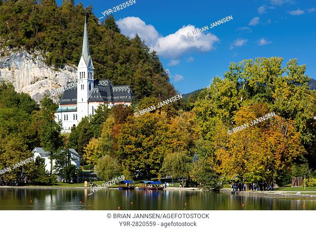 Autumn view of St Martins Parish Church along Lake Bled, Bled, Upper Carniola, Slovenia