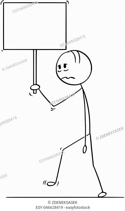 Cartoon stick drawing conceptual illustration of sad or depressed man or businessman walking with empty or blank sign