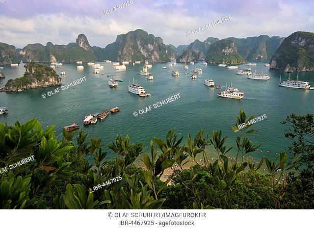 Halong Bay with boats, limestone cliffs, the Gulf of Tonkin, Halong, North Vietnam, Vietnam
