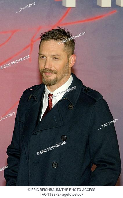 Tom Hardy in attendance at The Revenant Premiere at the Empire Leicester Square Theater on January 14, 2016 in London, England