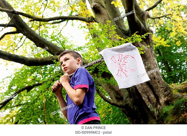 Boy holding a pirate flag