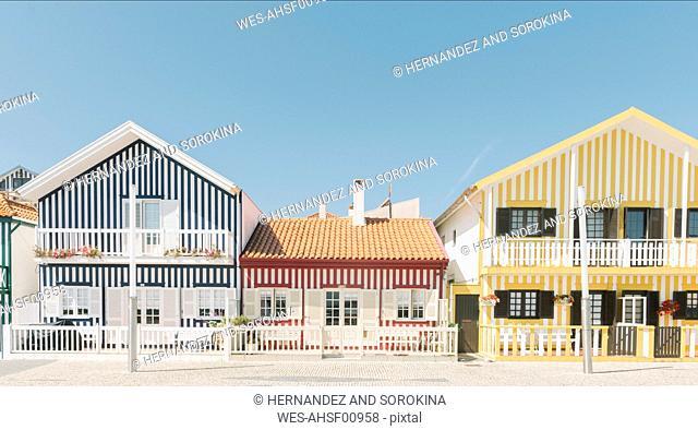 View of striped houses, Costa Nova, Portugal