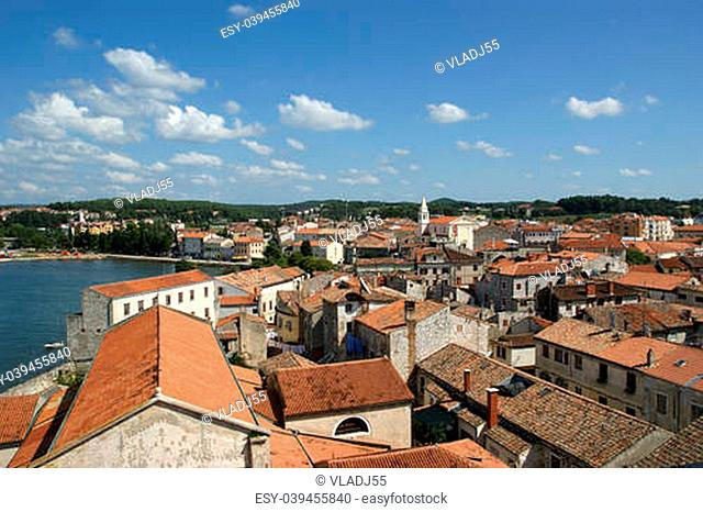 The roofs of the city on a sunny summer day, Porec, Croatia