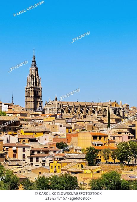 Spain, Castile La Mancha, Toledo, View of the Cathedral of Toledo.