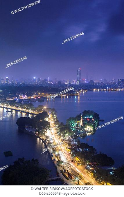 Vietnam, Hanoi, elevated city view by Tay Ho, West Lake, dusk