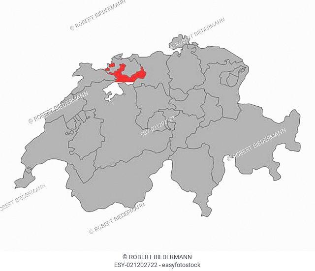 Karte der Schweiz mit Fahne von Solothurn