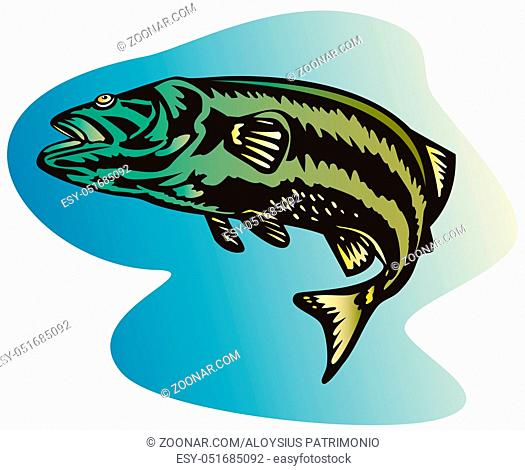 illustration of a largemouth bass jumping done in retro style