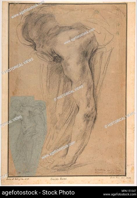 The Reclining Headless Body of Holofernes; Study of Female Semi-Nude Figure (on a small separate, unrelated sheet of blue paper