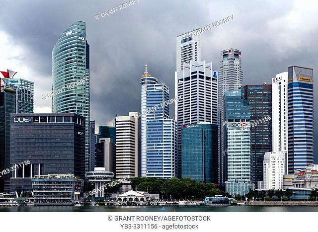 The Singapore Skyline From Marina Bay, Singapore, South East Asia