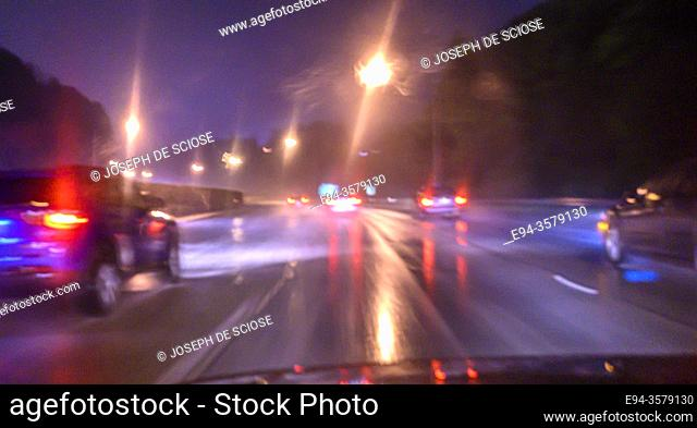 Traffic scene on a rainy night