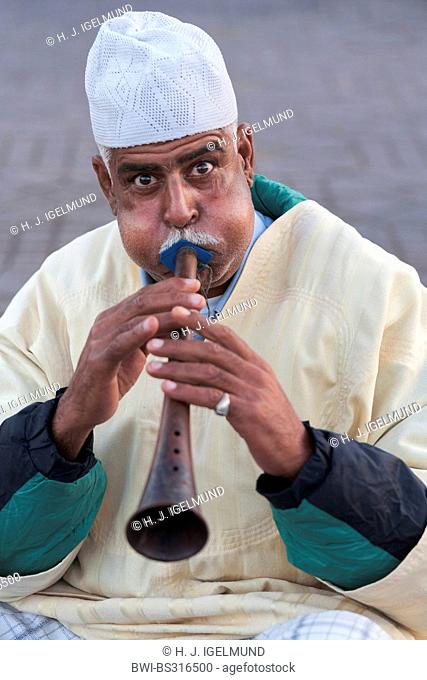 portrait of a flute player, Morocco, Marrakesh