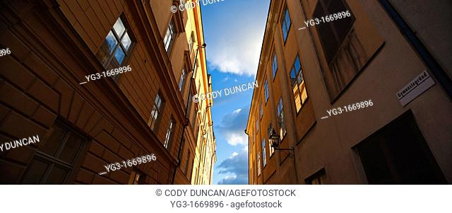 View of sky between buildings, Stockholm, Sweden