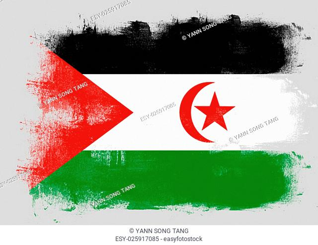 Flag of Western Sahara painted with brush on solid background