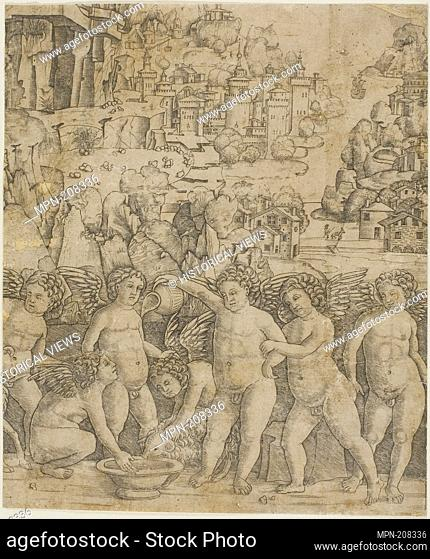 Seven Cupids with Two Rams in a Landscape - 1475/85 - Giovanni Antonio da Brescia Italian, c. 1460-c. 1520 - Artist: Giovanni Antonio da Brescia, Origin: Italy