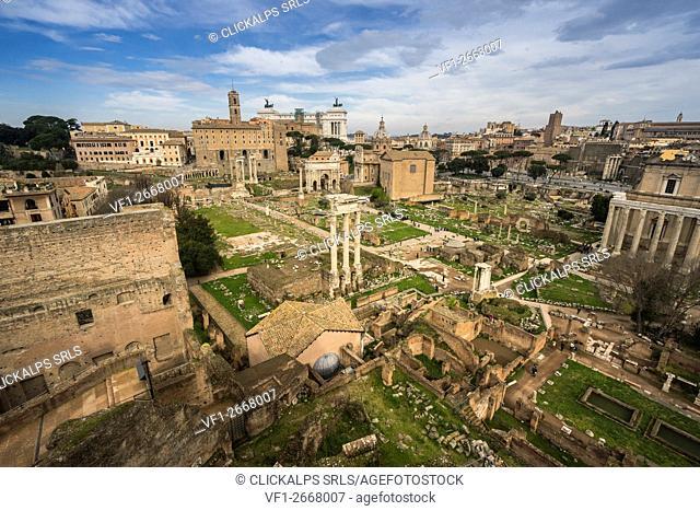 Palatine Hill, Rome, Lazio, Italy. The Roman Forum seen from Palatine Hill