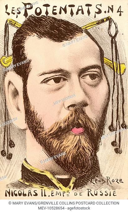 A satirical French cartoon on the subject of Tsar Nicholas II (Nikolay Alexandrovich Romanov), the last Emperor of Russia