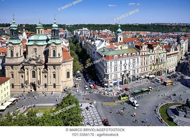 Prague Czech Republic. Aerial view of St. Nicholas church in Old Town square