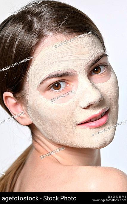 Details of Young Woman With Facial Mask