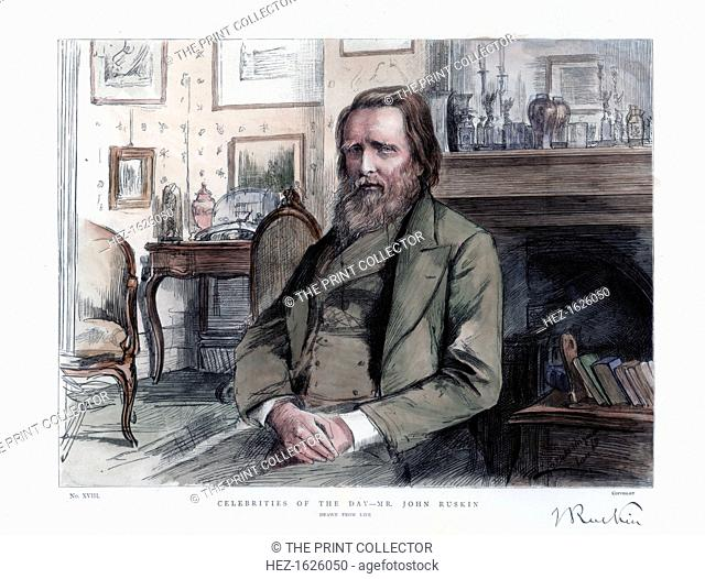 John Ruskin (1819-1900), English critic, author, poet and artist, 1886. Ruskin is best known for his work as an art critic and social critic