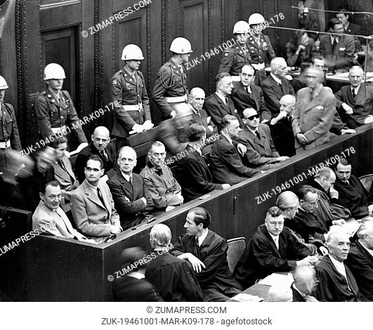 Oct. 1, 1946 - Nuremberg, Germany - Five of the leading Nazis seen seated in the dock at Nuremberg during the final session of the greatest war trial in history