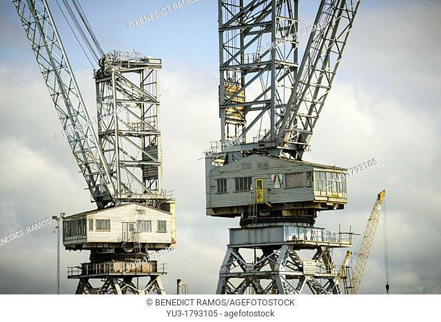 Detail of large cranes, Pendennis Dockyard, Falmouth, Cornwall, England, UK