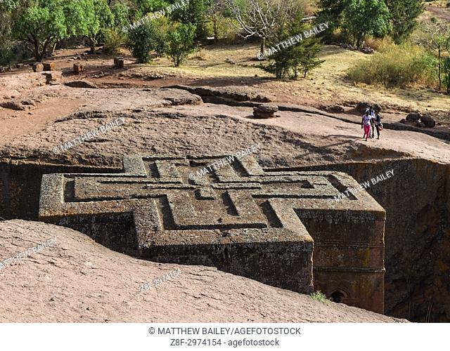Looking down at the incredible ancient architecture of the rock-hewn Church of Saint George