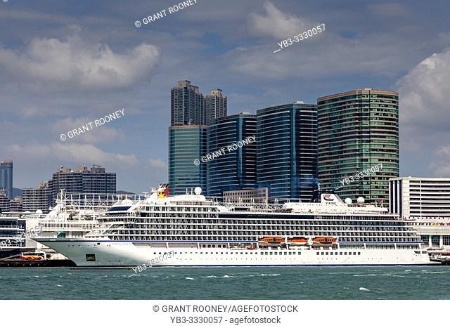A Viking Orion Cruise Ship Moored At The Port Terminal, Kowloon, Hong Kong, China