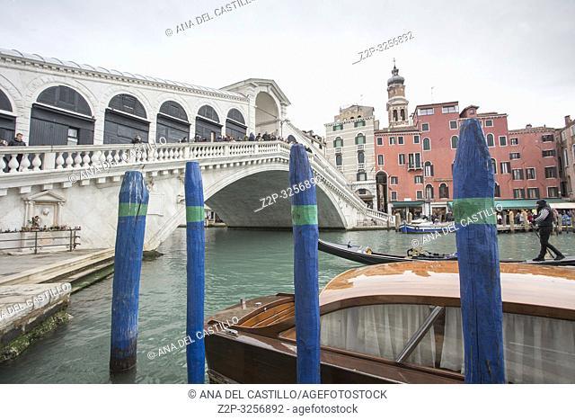 Venice, Veneto, Italy : Grand Canal. Rialto bridge