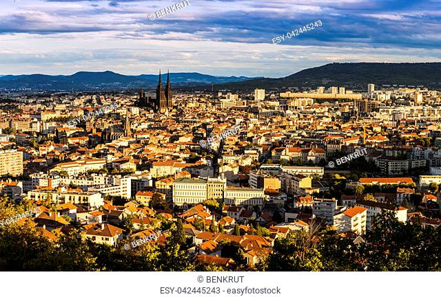 Panorama of Clermont-Ferrand at sunset. Clermont-Ferrand, Auvergne-Rhone-Alpes, France