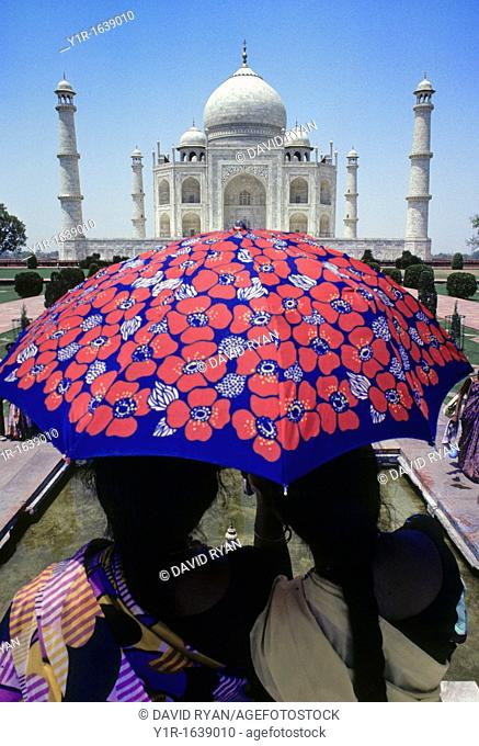 Two ladies viewing the Taj Mahal, Agra, India
