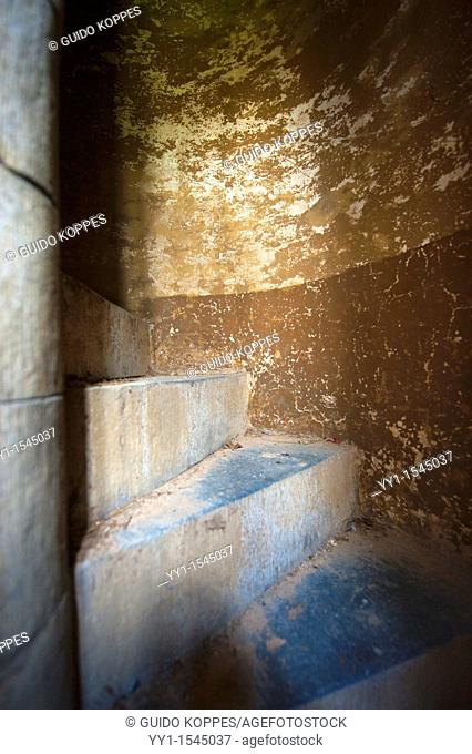 Amay, Belgium. Staircase, leading to the clock house in an abandoned Abbey's bell tower