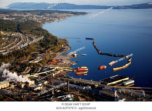 Aerial, Pulp Mill, Chip Barges, Hulks Breakwater Ships, Westview and Powell River, British Columbia, Canada