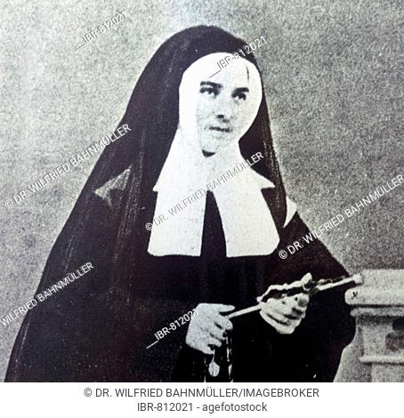 Photo of St. Bernadette of Lourdes taking her vows in April 1868, St. Gildard Monastery Museum, Nevers, Nievre Department, France, Europe