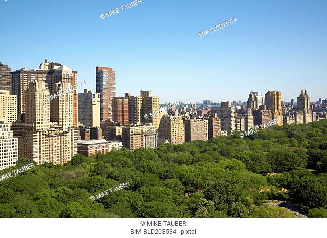 Urban park and skyscrapers, New York, New York, United States
