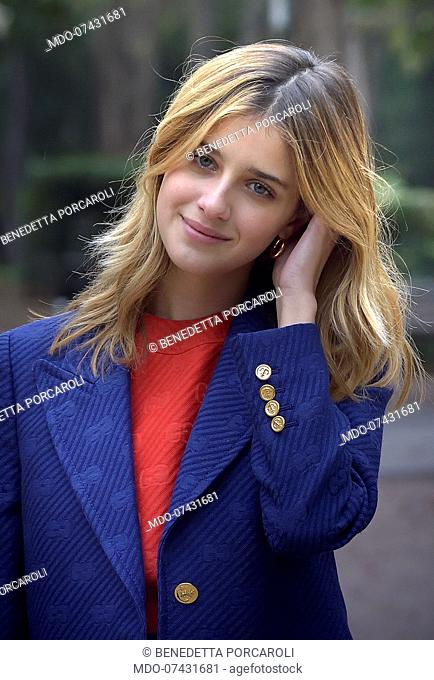 Italian actress Benedetta Porcaroli posing during the photocall for the presentation of the film 18 Regali, at the Casa Del Cinema