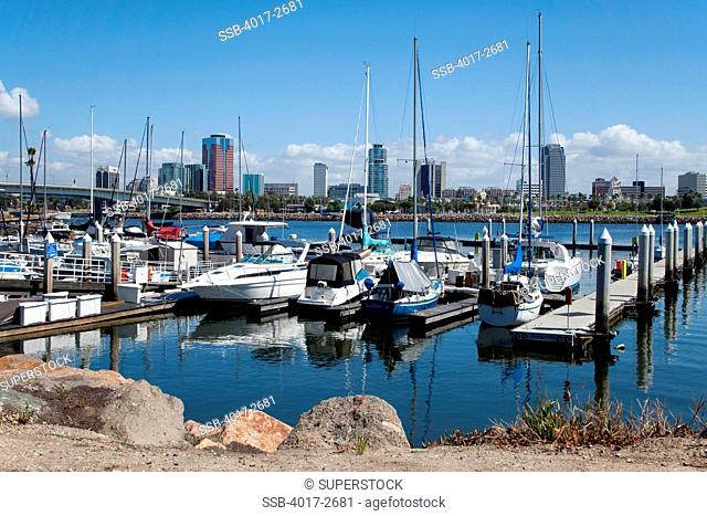 Boats at a harbor, Long Beach, Los Angeles River, Los Angeles County, California, USA