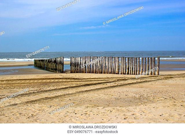 Wave breaker made of wooden stakes on the beach, Renesse, Netherlands