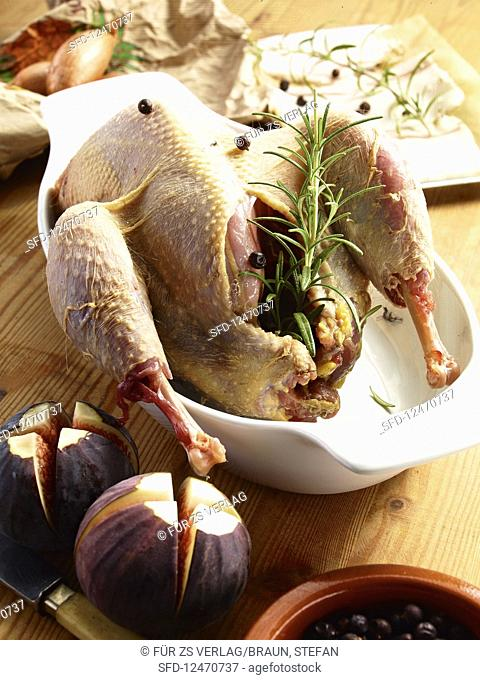 A ready-to-roast duck with ingredients, herbs and spice
